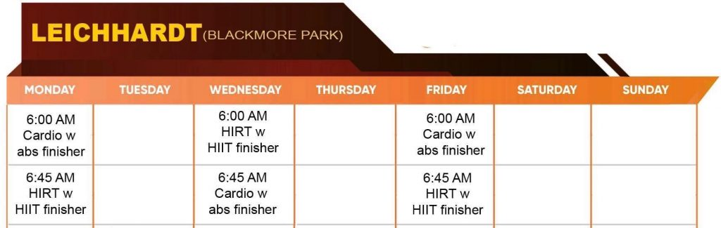 Leichardt Ownitfit Timetable
