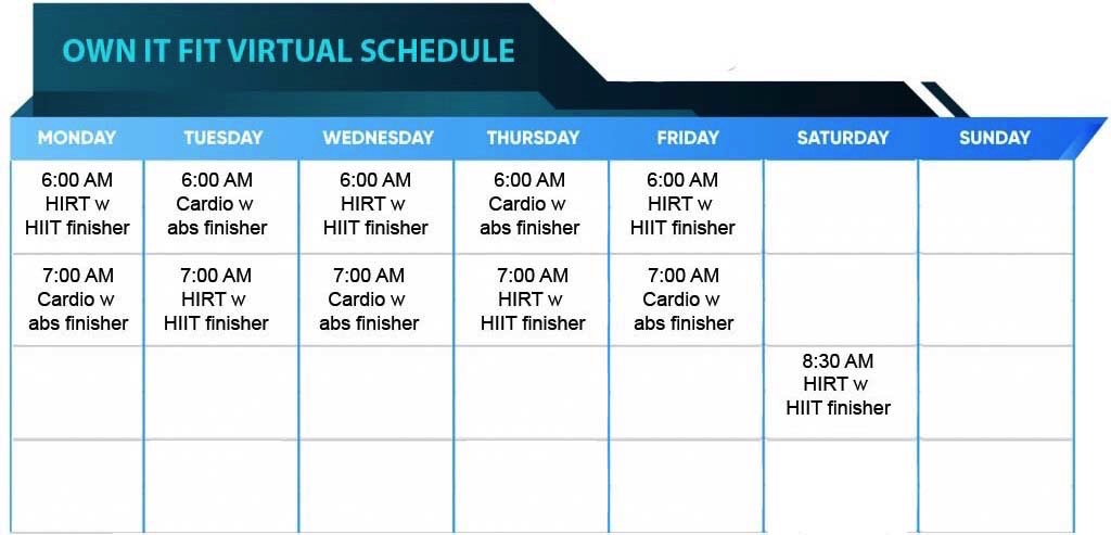 Ownitfit Virtual Schedule