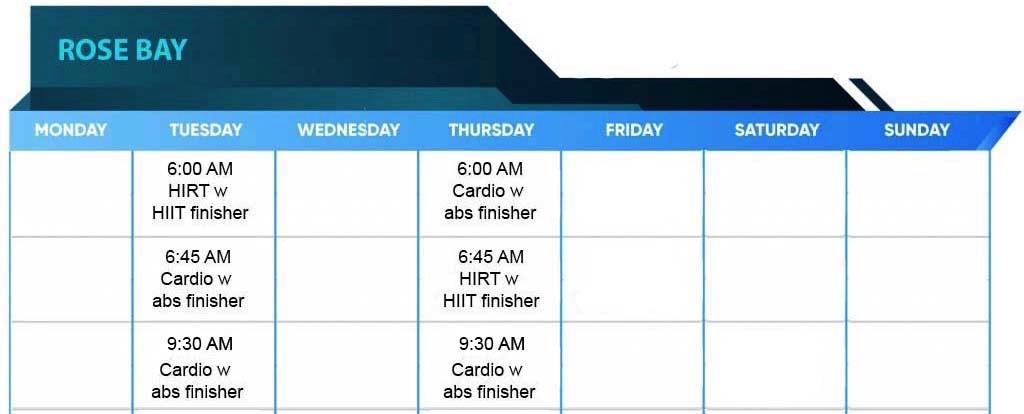 Rose Bay Ownitfit Timetable