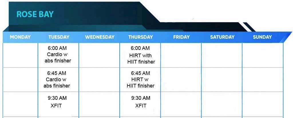 Rose Bay Timetable